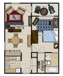 1 Bedroom, 1 Bathroom. This Is An Apartment Floor Plan.