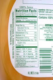 tropicana orange juice nutrition facts label trop50 orange juice beverage label made by creative label