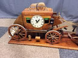 vintage wells fargo overland wood stagecoach clock banker s office vintage wells fargo overland wood stagecoach clock banker s office display model