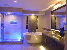 amazing bathroom blue led lights decors ideas in ceiling glass shower room and above beside bathtub