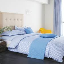 v a ikat gingham blue duvet cover set disc