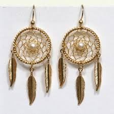 Dream Catcher Earrings With Feathers Gold Dreamcatcher Earrings with feathers gemstone pearl 1