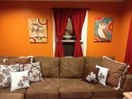 Orange Paint For Living Room Living Room Orange Painting Wall Red Curtain Glass Windows