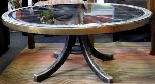 ... Brown Vintage Glass Top Round Wagon Wheel Coffee Table Designs As  Prepossessing Ideas Of ...