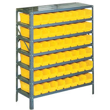 d plastic bins small parts steel gray storage rack with 48 yellow bins pb310 the home depot