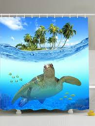 beach turtle printing shower curtain with hooks lake blue 180 180cm