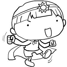 幼稚園の発表会お遊戯会で妖精の衣装で楽しそうに踊る男の子塗り絵