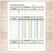 Printable Kettlebell Workout Chart Printable Kettlebell Exercise Log Daily Workout Sheet With