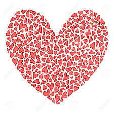 big heart of many small hearts in red and pink colors valentine symbol hand