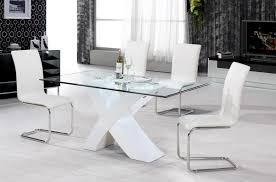 arizona white high gloss dining set with 4 dining chairs