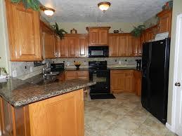 Unique Kitchen Color Ideas With Oak Cabinets And Black Appliances Granite Counter Intended Impressive