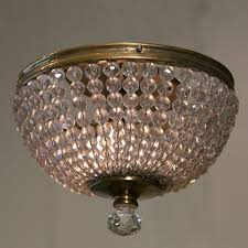 pair of vintage french crystal flushmount lights at 1stdibs with regard to attractive house crystal dome chandelier prepare