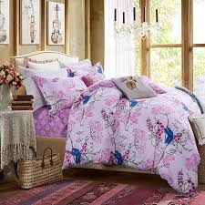 pastel hot pink green white and cobalt blue tropical fl cherry blossom and dragonfly print full queen size cotton bedding sets