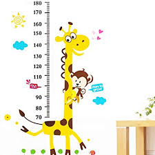 Wallpaper Measuring Chart Large Growth Chart Height Stickers Animal Vinyl Peel Stick Mural Art Animal Wallpaper Children Baby Family Bedroom Living Room Nursery School