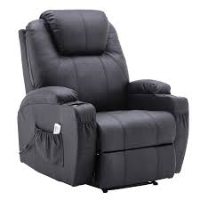 electric power recliner massage ergonomic chair vibrating heated lounge remote pu leather 7050 black