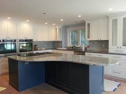 Furniture:Cool Kitchen With U Shaped White Kitchen Counter Also Gey Bianco  Romano Granite Countertop