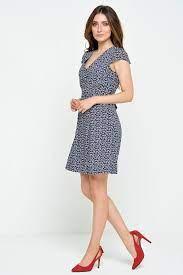 Louche Cathleen Bird Print Dress in Navy   iCLOTHING - iCLOTHING