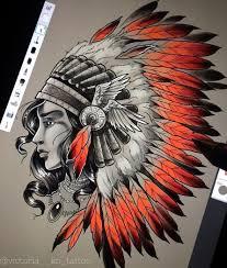 цветной эскиз девушки индианки Tattoos татуировки татуировка