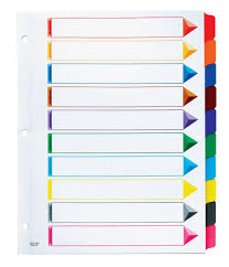 Oxford Omni Dex Colour Coded Tab Dividers 10 Tabs Letter