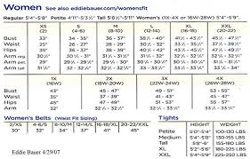 Women S Clothing Size Chart By Height And Weight 15 Skillful Eddie Bauer Size Charts