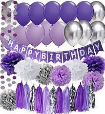 Purple Happy Birthday Banner Amazon Com Purple Birthday Party Decorations Purple White Silver