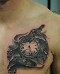 красивая тату на груди парня карманные часы фото рисунки эскизы