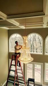 high ceiling chandelier install designs