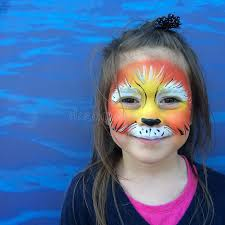 little child with lion face painting stock image image of makeup drawing