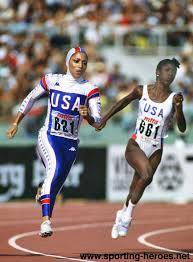 Florence GRIFFITH-JOYNER - Biography of her athletics career 1987 and 1988.  - U.S.A.