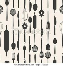 Seamless monochrome kitchen tools pattern background clip art vector
