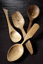 hand carved wooden spoons in oak