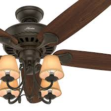 54 hunter traditional ceiling fan with light and canvas shades in new bronze 1 of 6free