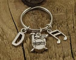 drummer keyring drummer keychain personalised drummer gift personalized initial charm ian gift drumkit al instrument drum