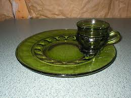 indiana colony glass king s crown thumbprint snack set plate cup