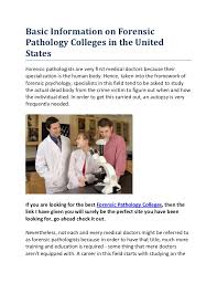 Basic Information On Forensic Pathology Colleges In The United States