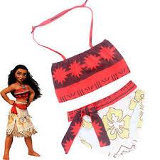 Image Is Loading Princess Moana Cosplay Kids Bikini Girl Swimwear Swimsuit