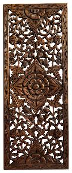 large lotus fl wood carved wall
