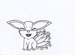 Small Picture young Kurama nine tails chibi lineart by charasasuke on