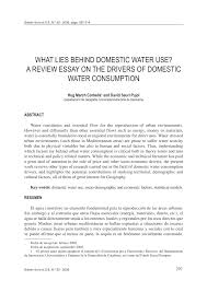 what lies behind domestic water use a review essay on the drivers what lies behind domestic water use a review essay on the drivers of domestic water consumption