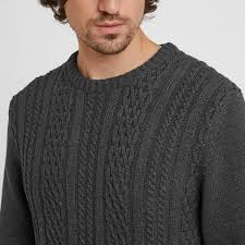 Aaron Mens Cable Knit Jumper - Dark Grey Marl – TOG24