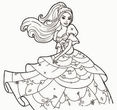 Coloring Book Drawn Barbie Page Pencil And In Color Clipart