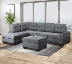 Sofa With Couch Designs Harper Bright Designs Sofa Sectional 3 Seat With Reversible Chaise Lounge And Storage Ottoman Sofas Couch For Living Room Gray