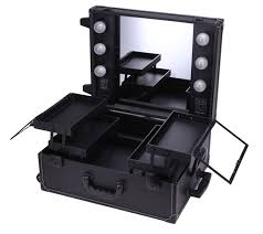 lighted cosmetic box make up travel case mirror vanity bag with trolley professional in cosmetic bags