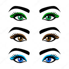 collection of female eyes and eyebrows of diffe shapes diffe colors with and without makeup art vector by romanchik ruslan gmail