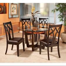 get ations round glass top dining table set with 4 wood back side chairs
