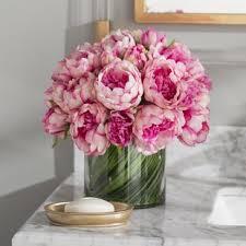 pink floral arrangements. Exellent Arrangements Faux Magenta U0026 Pink Peony Floral Arrangement In Glass Vase Throughout Arrangements S