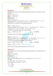 ncert solutions for class 10 maths chapter 4 exercise 4 4 quadratic equations