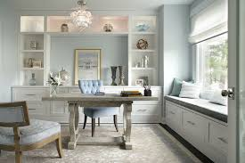 inspiration for a transitional home office remodel in new york with blue walls beautiful office design