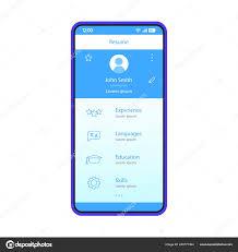 App Resume Resume Smartphone App Interface Vector Template Mobile Job