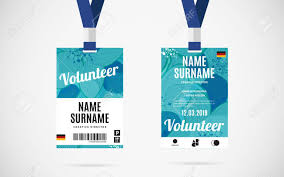 Lanyard Badge Design Event Volunteer Id Card Set With Lanyard Vector Design And Text